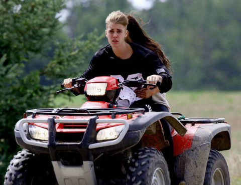 Justin Bieber and Celena Gomez riding an ATV before MVA